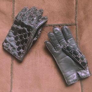 Vintage Gucci Calf/Pony Hair Monogram Gloves